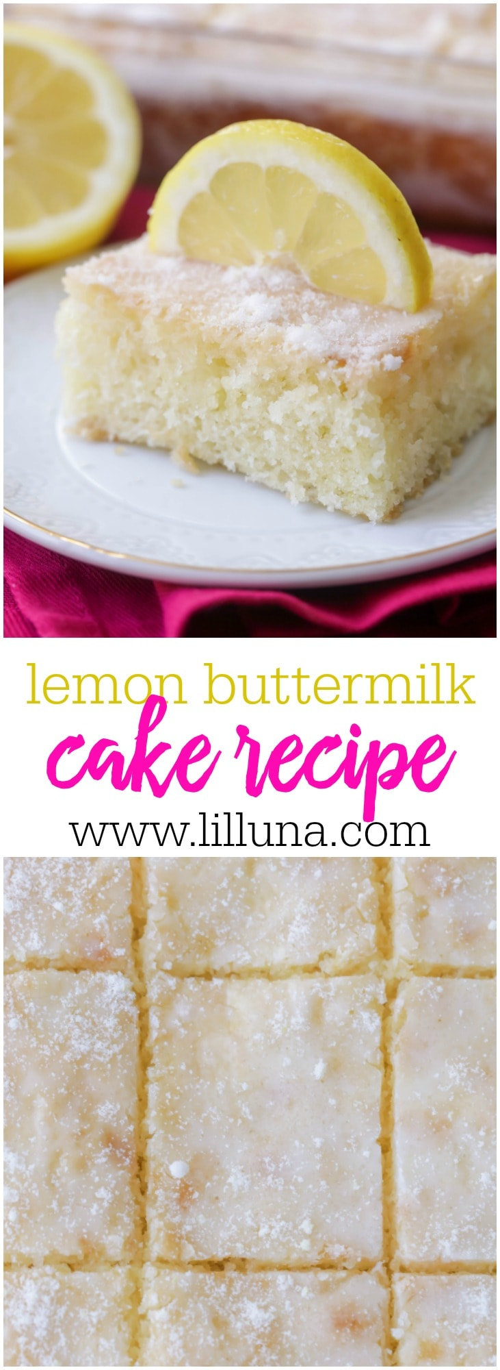 Lemon cake baked with a lemon zest and topped with a delicious lemony glaze! The perfect amount of lemon flavor and perfect any time of year!