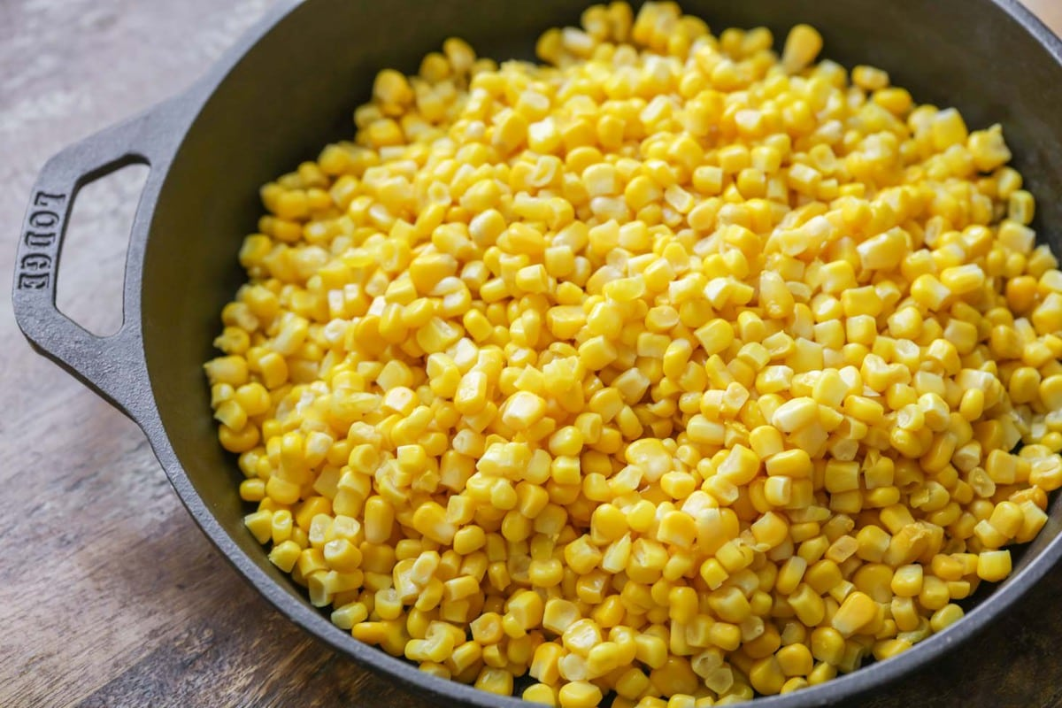 corn kernels in a cast iron skillet