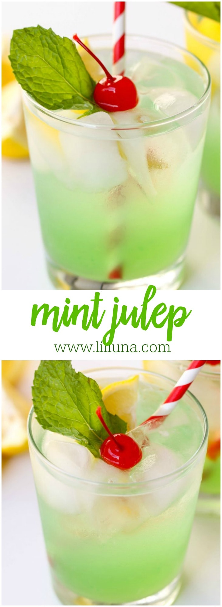 Disneyland's Copycat Mint Julep recipe - a non-alcoholic drink that is refreshing and DELICIOUS!! Recipe on { lilluna.com } Made with lemonade concentrate, creme de menthe syrup, lime juice, sugar, and club soda - topped with mint leaves and cherries!