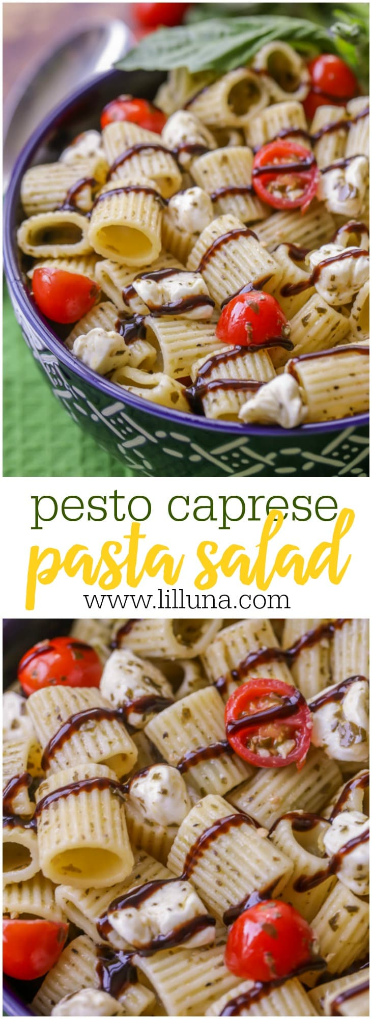 Pesto Caprese Pasta Salad - a pasta salad covered in basil and filled with mozzarella balls, tomatoes, basil and balsamic vinaigrette reduction sauce.