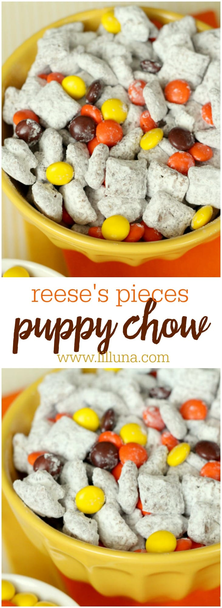 Reeses Pieces Puppy Chow - a delicious snack mix filled with peanut butter, chocolate, cereal and powdered sugar sprinkled with Reese's Pieces!