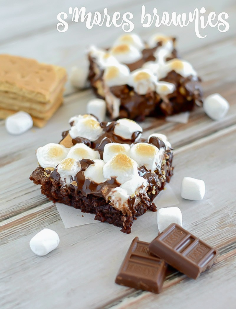 Smores brownies - fudgy brownies topped with toasted marshmallows, graham crackers, and plenty of chocolate.