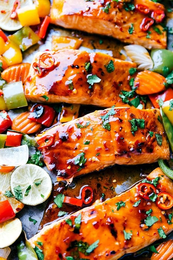 Sheet Pan Thai Glazed Salmon and Veggies