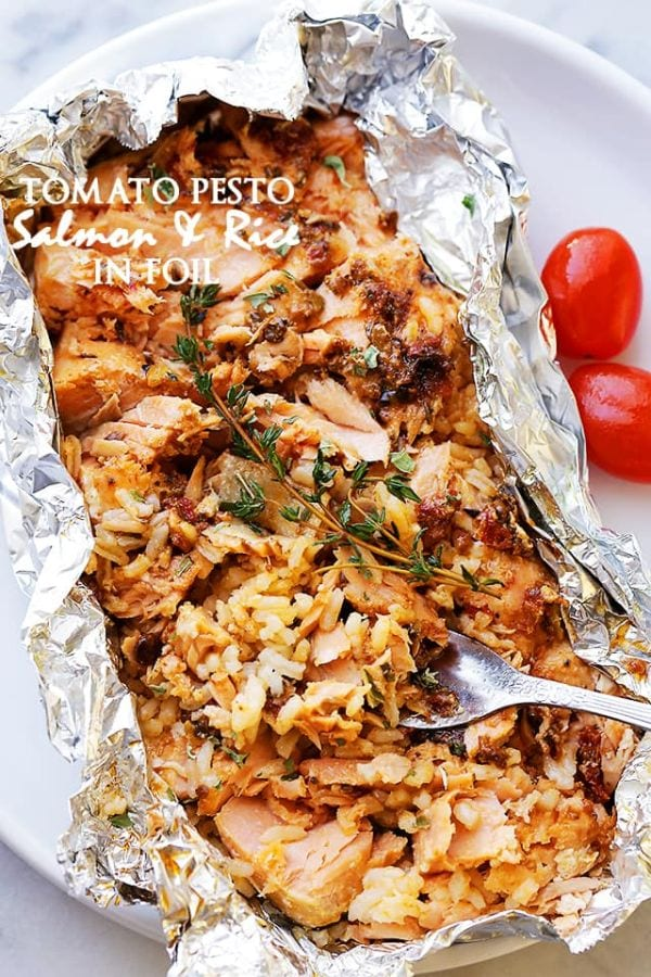 Tomato Pesto Salmon and Rice