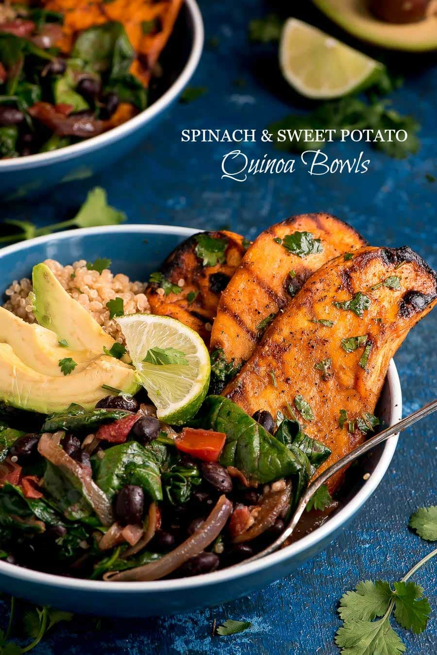 Spinach and Sweet Potato Quinoa in a blue bowl