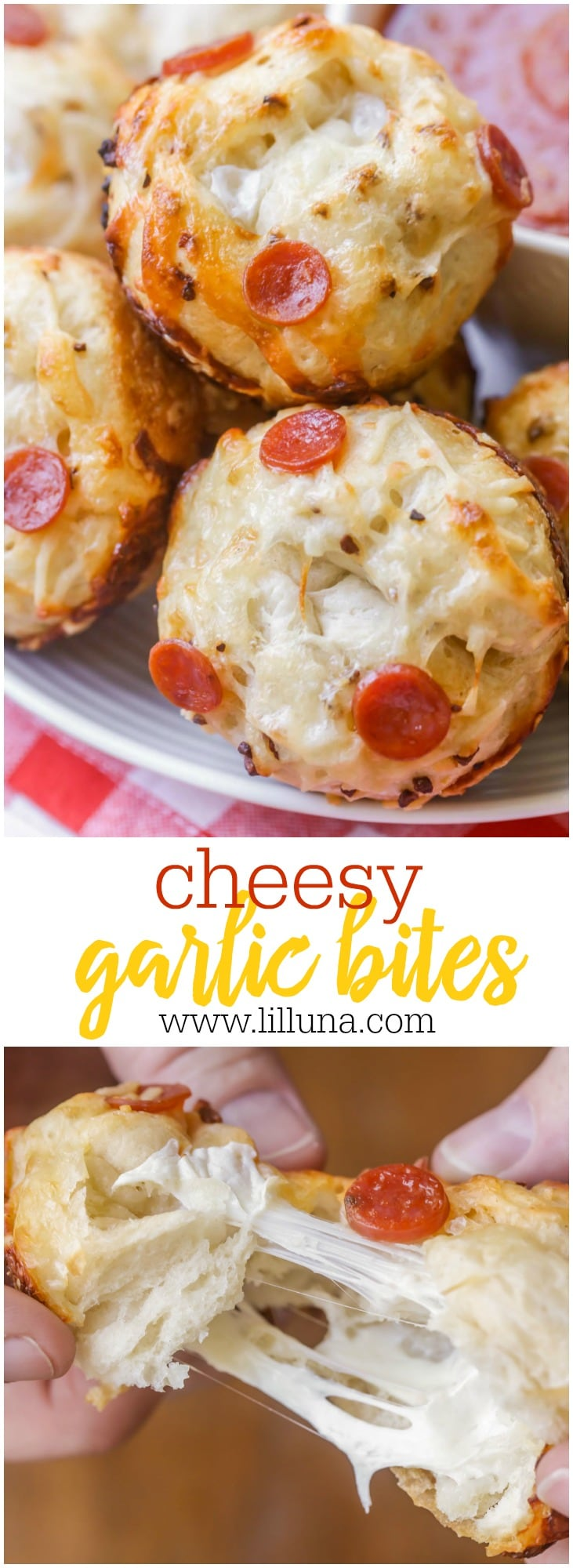 Cheesy and delicious Pizza Rolls (pizza bites) filled with mozzarella and topped with butter, cheese and pepperonis.
