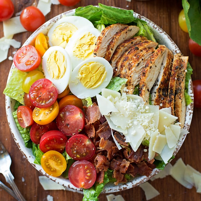 Chicken Caesar Salad with tomatoes, eggs, bacon, cheese and more