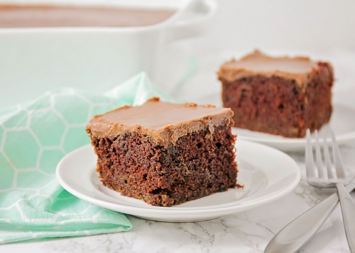 Chocolate Zucchini Cake on plate