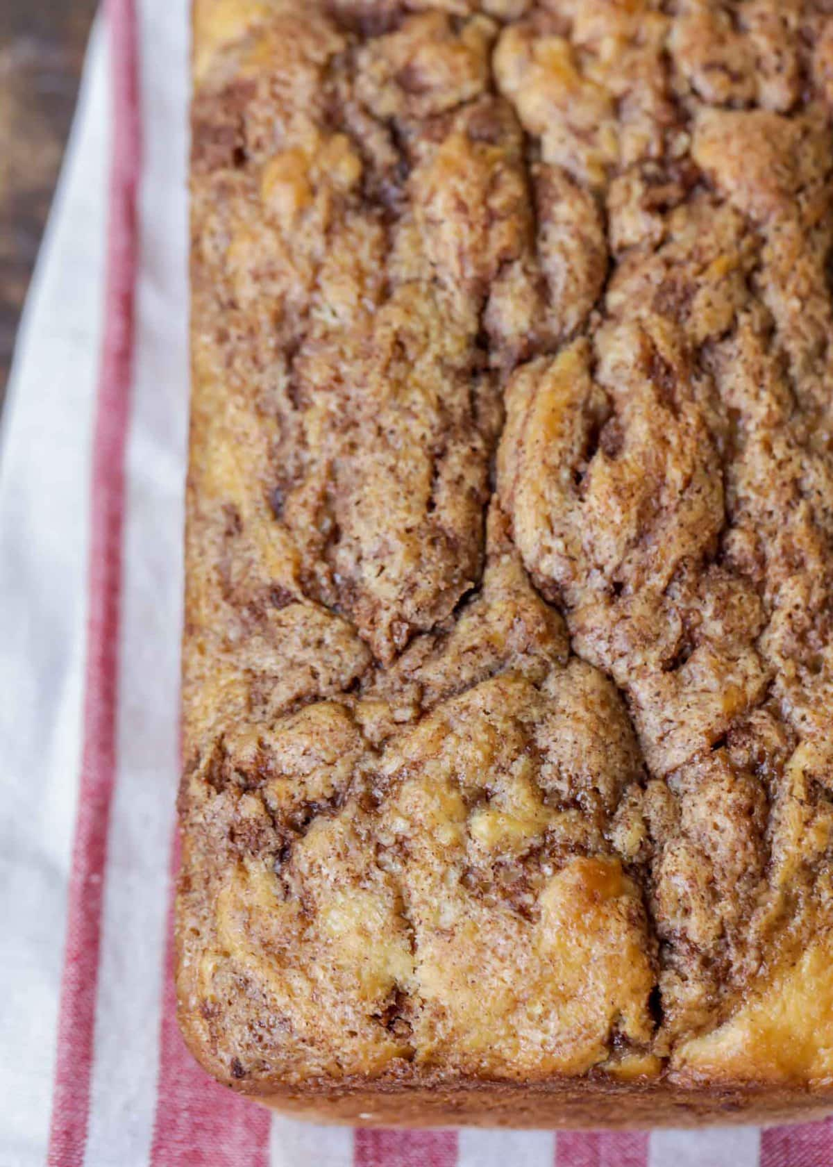 Loaf of cinnamon swirl bread unglazed and whole