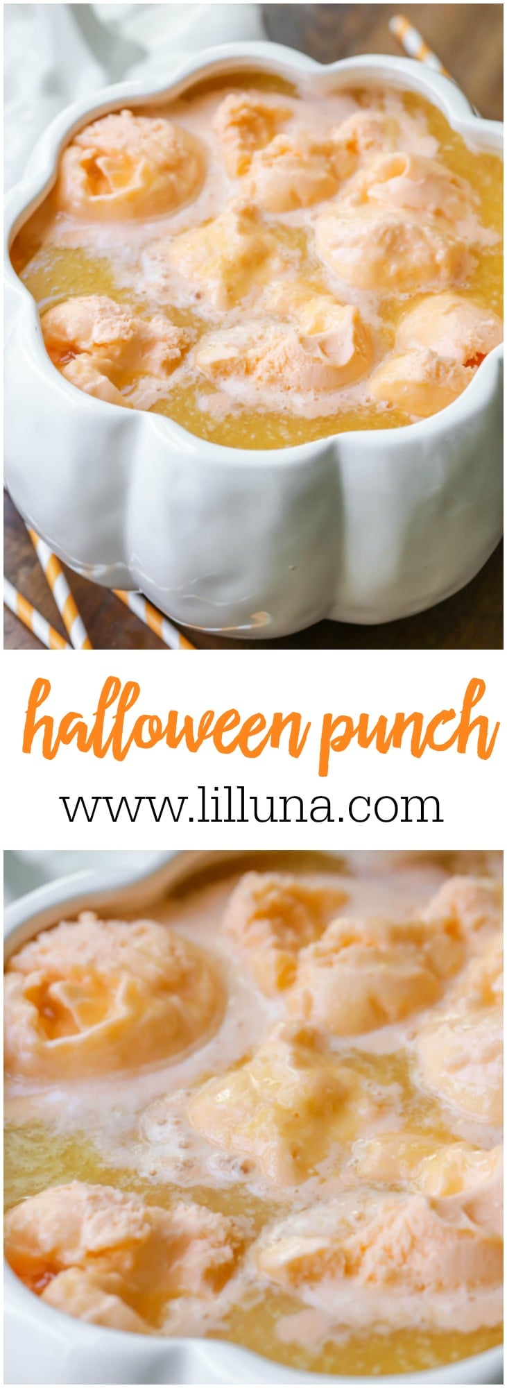 This cool Halloween Punch is made with orange juice, pineapple juice, Sprite, orange gelatin and orange Sherbet - perfect for ALL ages!