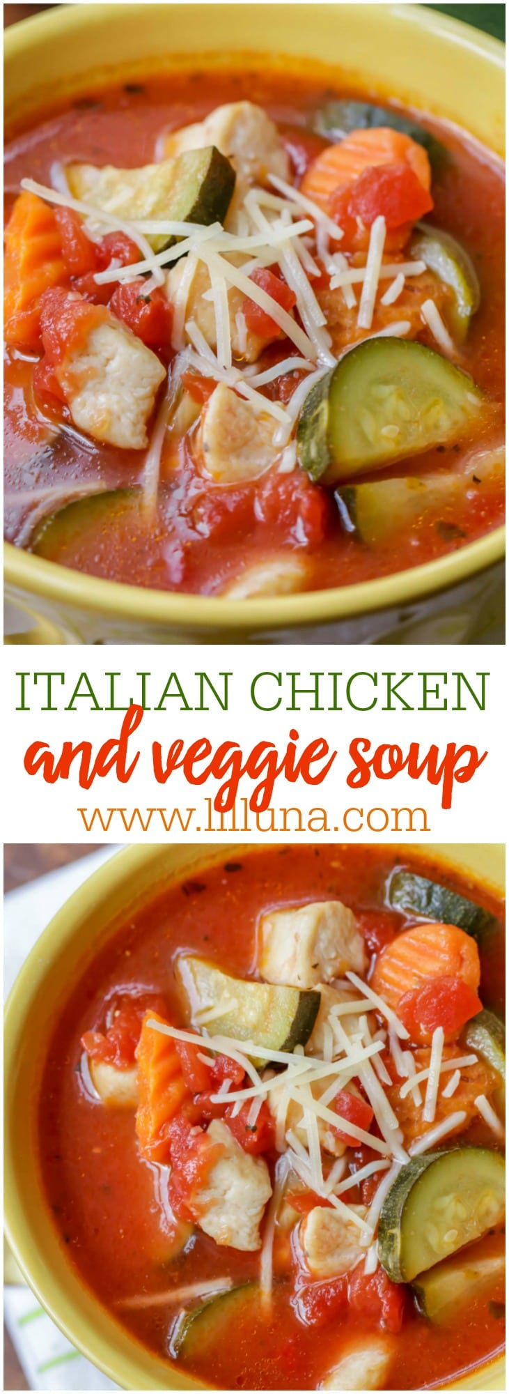 Chicken Vegetable Soup - this hearty soup is packed full of flavor with chicken, tomatoes, carrots, zucchini and cheese!