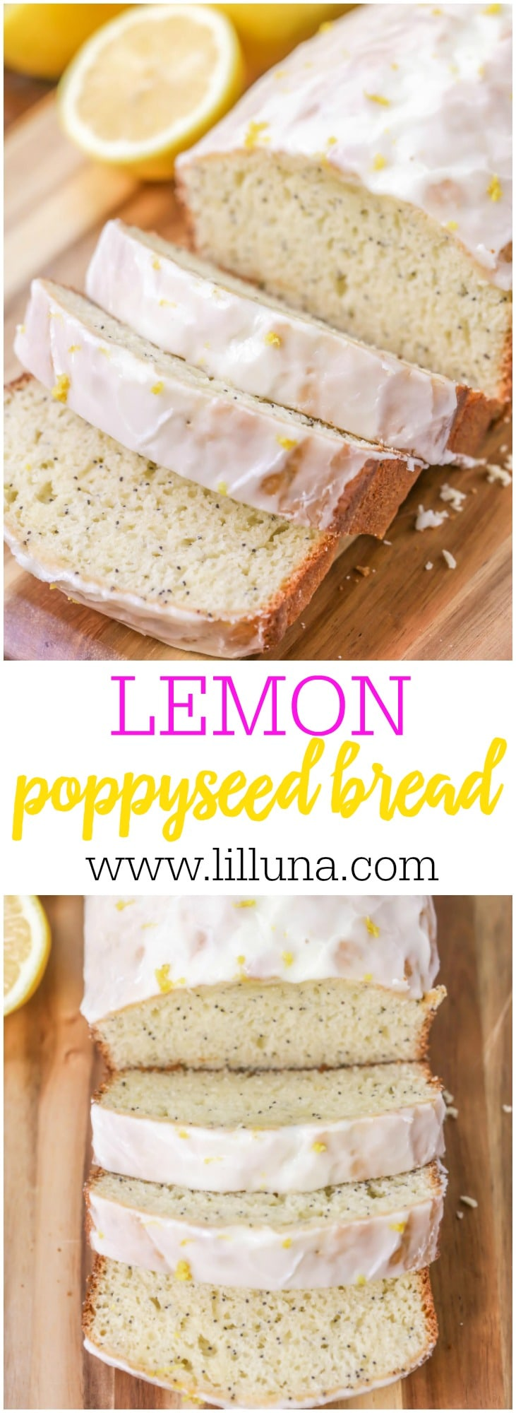 Soft and moist Lemon Poppy Seed bread. This quick bread recipe is simple and so full of flavor it's sure to be gone in minutes!