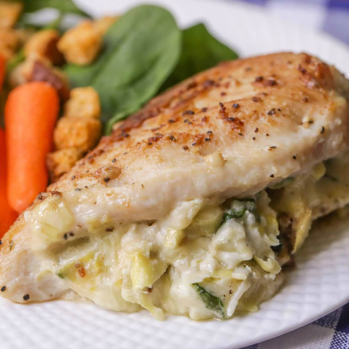 Stuffed chicken breast recipes - close up