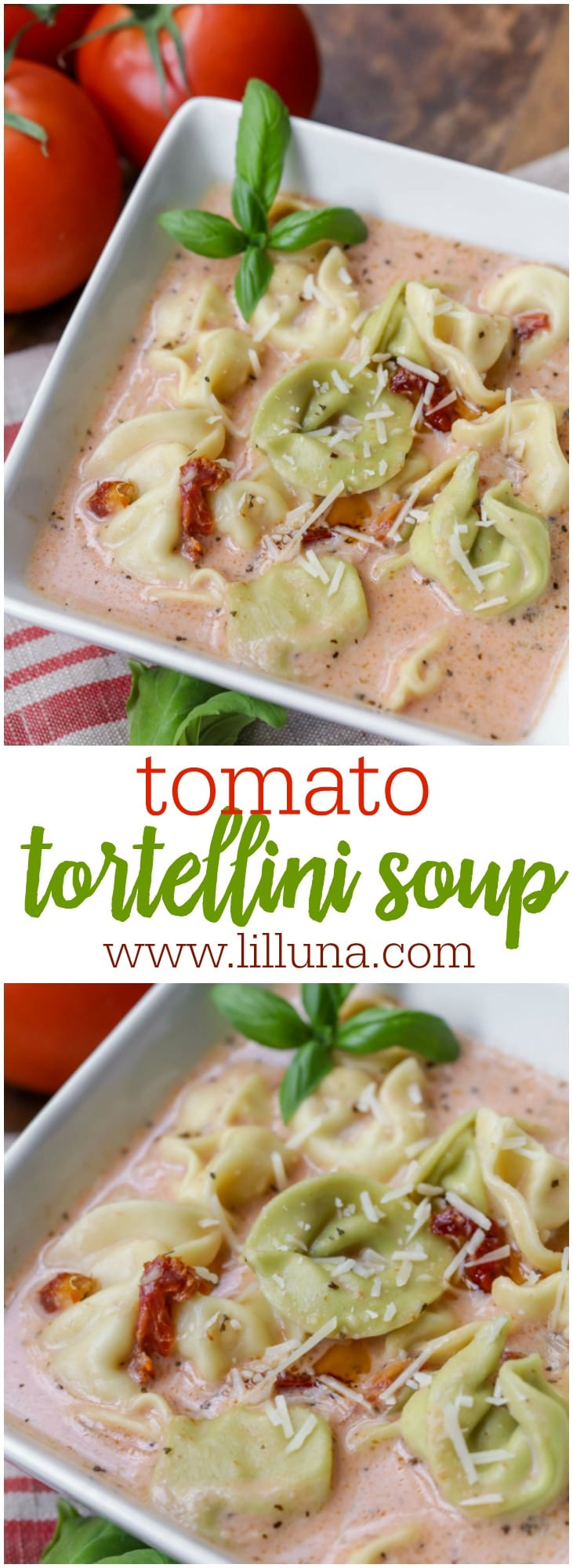 Delicious Tomato Tortellini Soup recipe - one of the best tomato recipes you'll ever try! Full of tomatoes, tortellini, cheese and flavor. Everyone loves this soup!