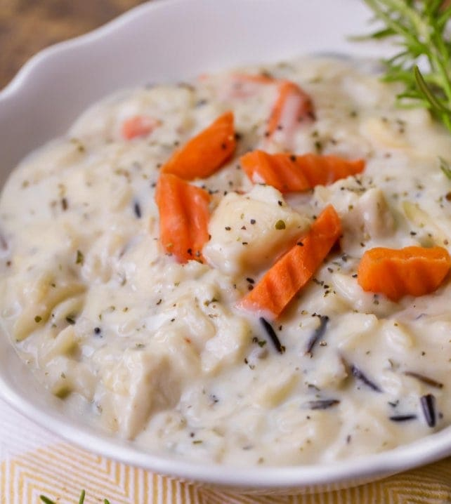 creamy Wild rice soup with chicken in bowl