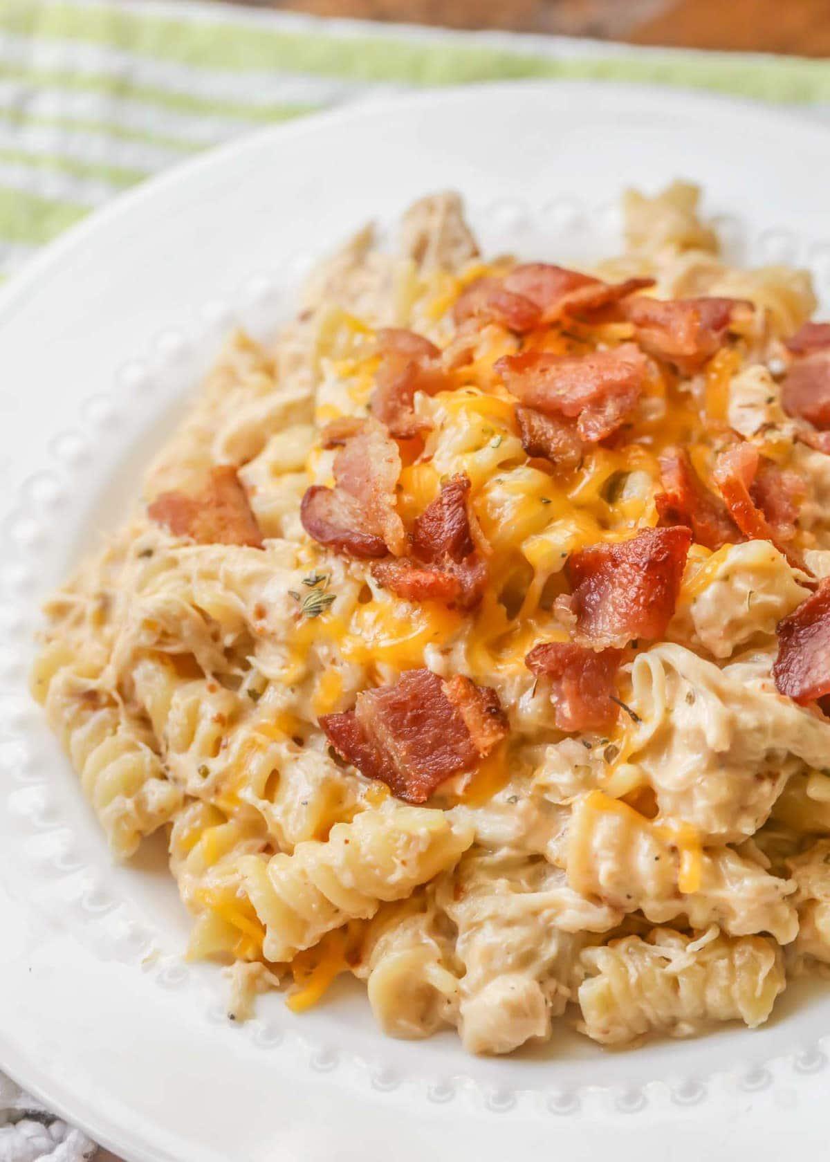 Chicken Bacon Ranch Pasta recipe on white plate