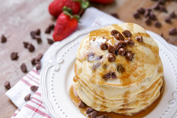 A stack of chocolate chip pancakes - an easy pancake recipe