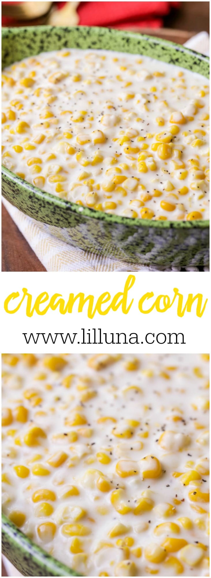 Creamed Corn - a delicious side dish filled with cream, butter and cheese making it perfect for anyone who loves corn!