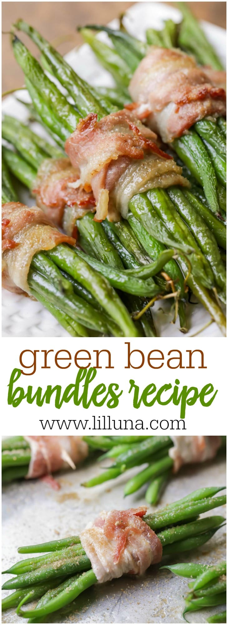 AMAZING Green Bean Bundles wrapped in bacon and drizzled in butter, brown sugar and garlic salt - a delicious side dish!