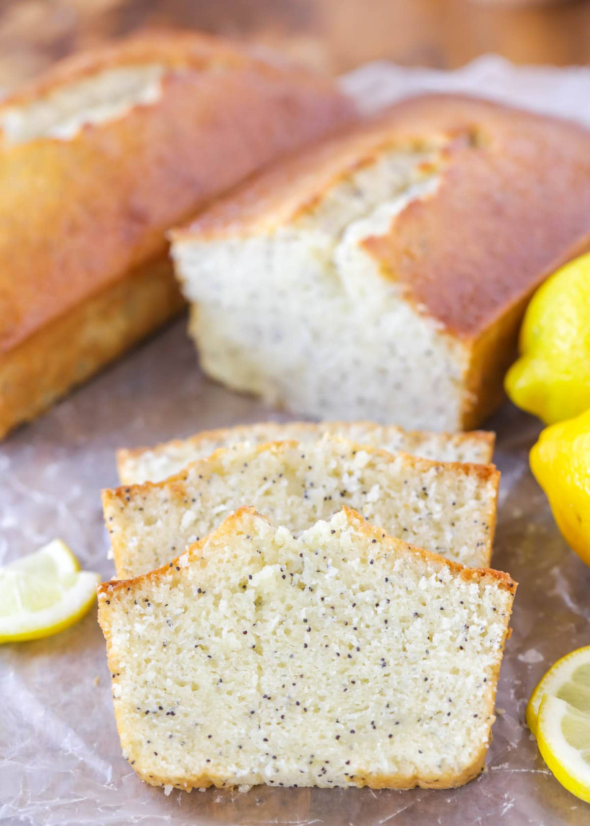 Lemon Poppy Seed Bread recipe on parchment paper