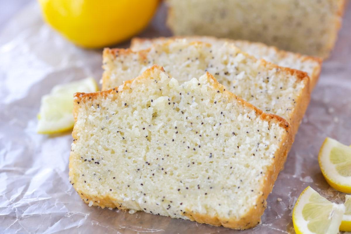 Lemon Poppy Seed Bread close up image