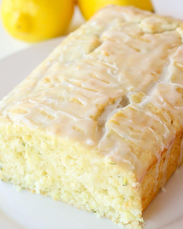 Lemon zucchini bread recipe close up pic