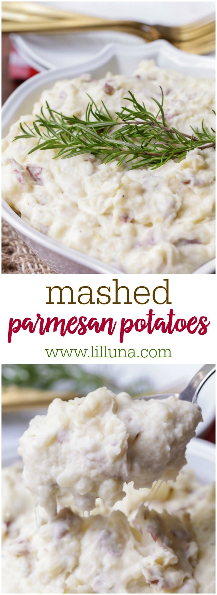 Mashed Parmesan Potatoes - so creamy and filled with half & half, butter, sour cream, and Parmesan cheese making them so flavorful and delicious!