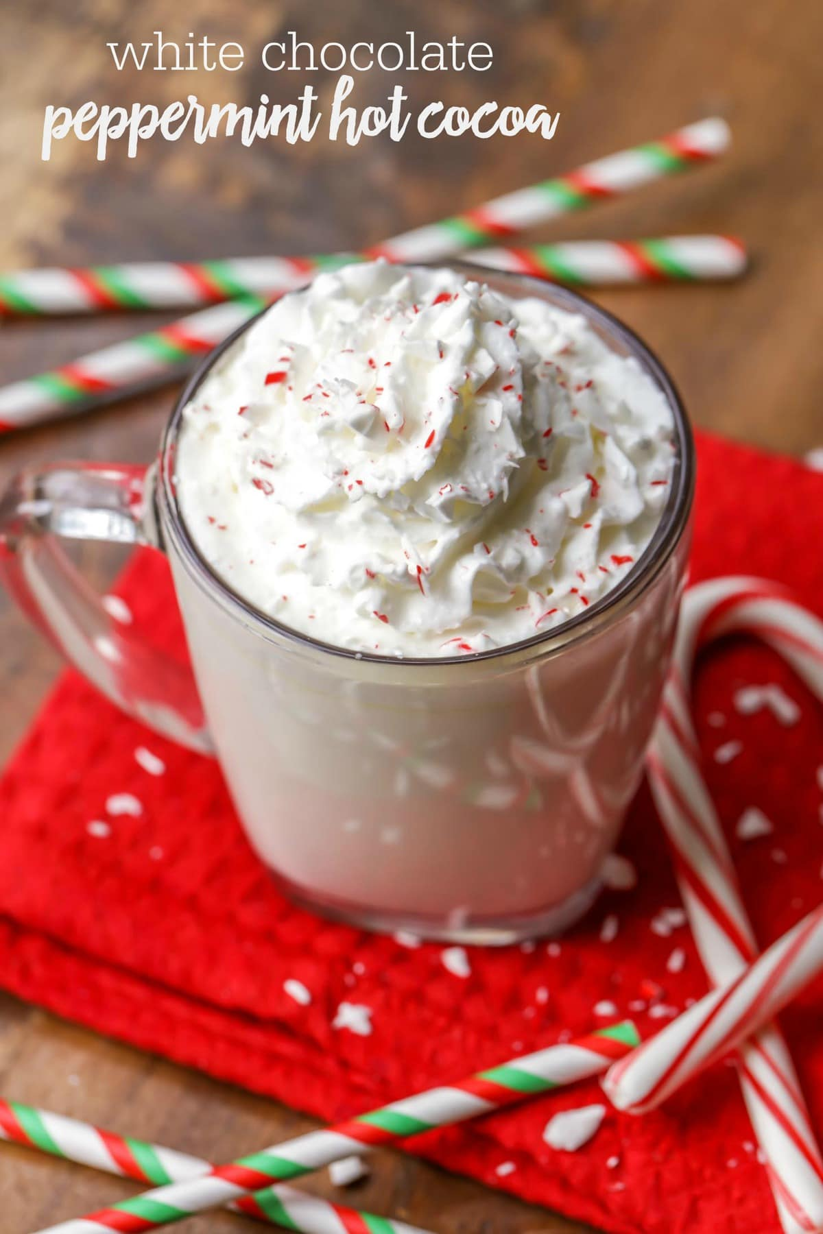 Rich and creamy White Chocolate Peppermint Hot cocoa recipe - one of the best drink recipes you'll try this holiday season!