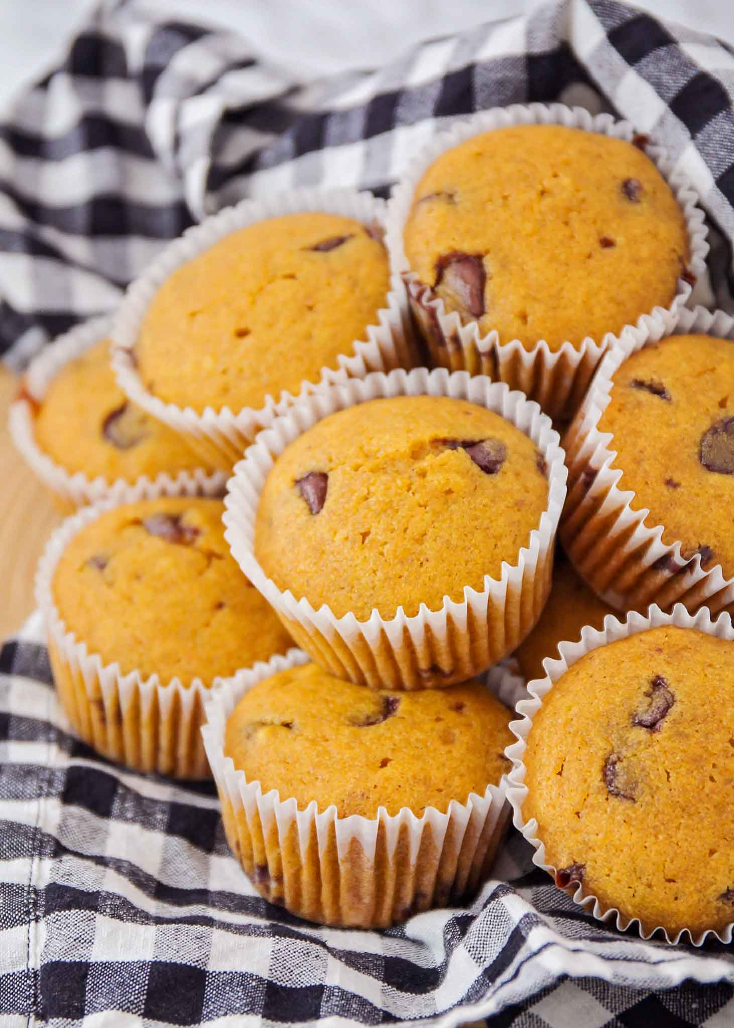 close up of chocolate chip pumpkin muffins