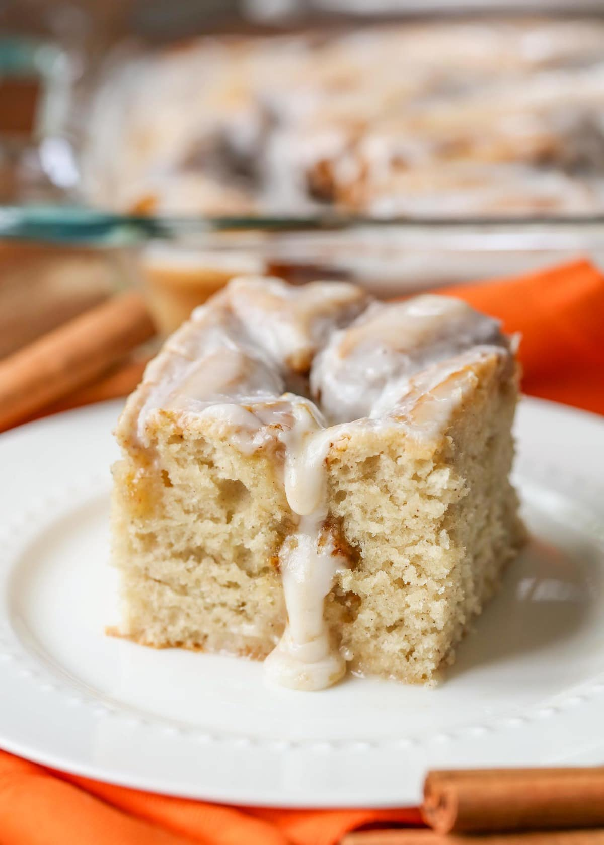 Pumpkin Cinnamon Roll Cake Recipe on a white plate