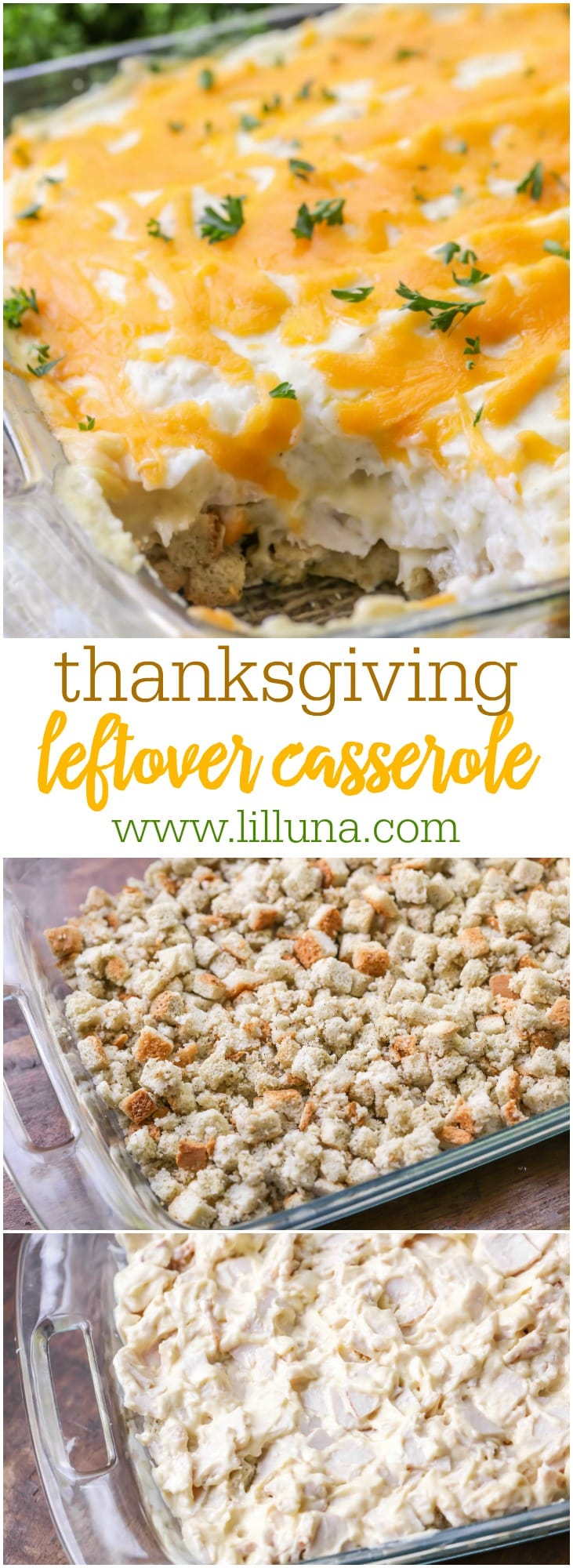 Thanksgiving Leftover Casserole - made with mashed potatoes, turkey and stuffing. A great dish to make with leftover food from Turkey Day!