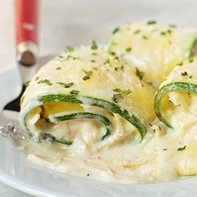 Chicken Alfredo Zucchini Roll Ups
