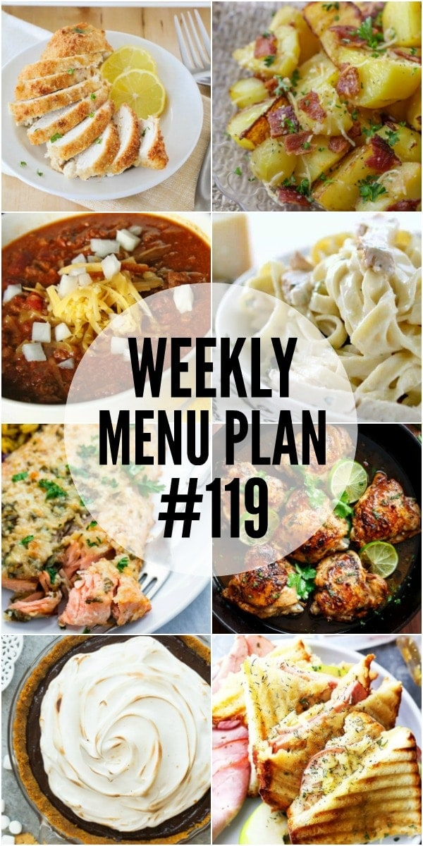 Weekly Menu Plan - a delicious collection of dinner, side dish and dessert recipes to help you plan out your weekly meals.