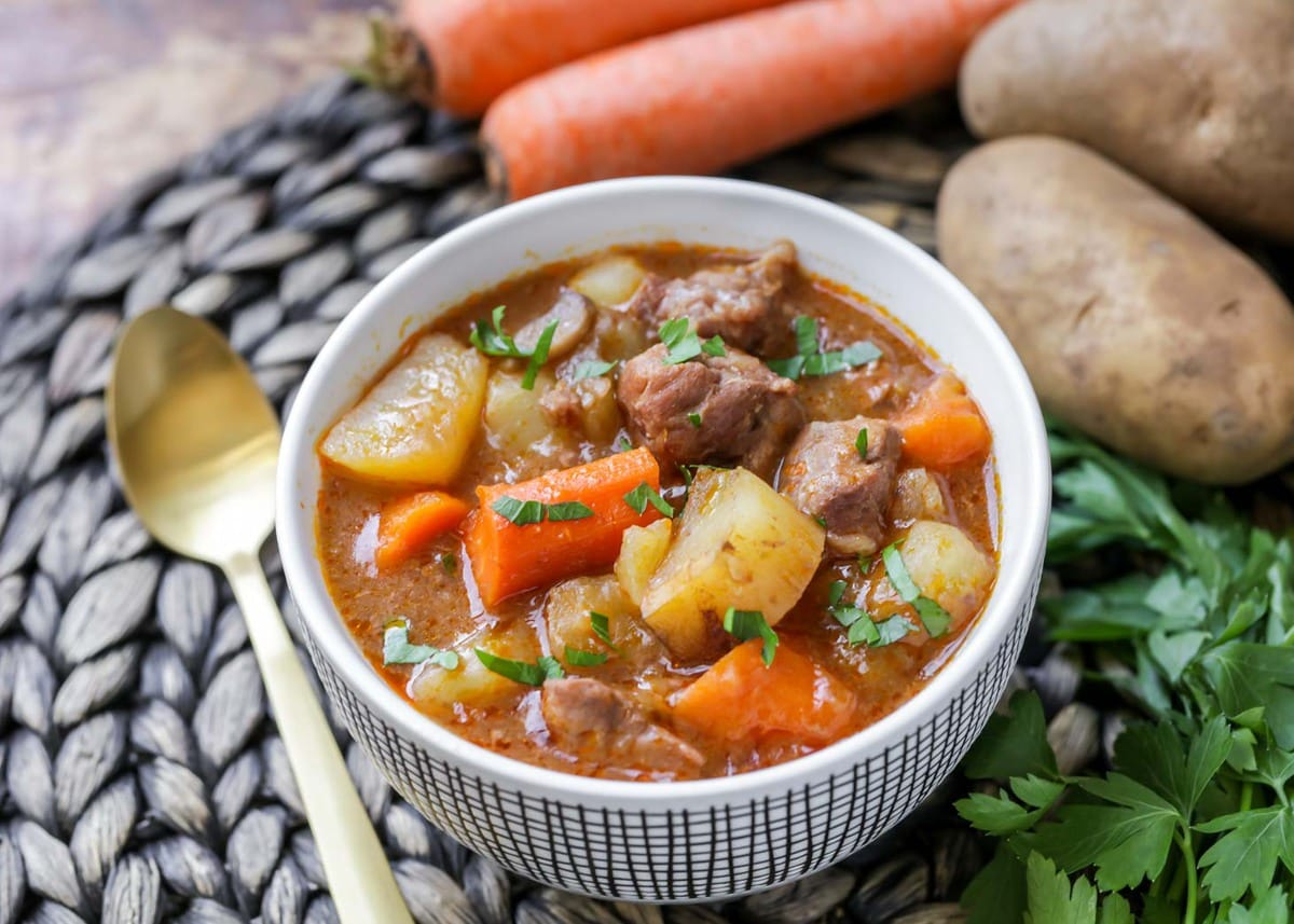 crockpot soups - beef stew in a bowl