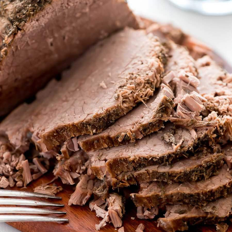 Slices of roast beef for french dip recipe