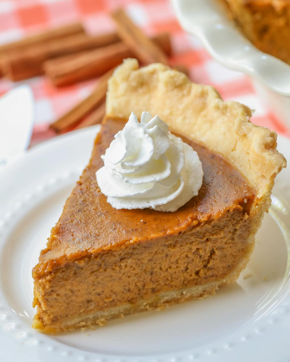 Slice of Pumpkin Pie Recipe on a plate