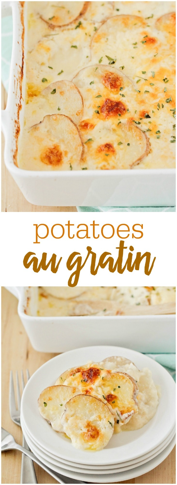 Cheddar & Parmesan Au Gratin Potatoes-the perfect side dish with any meal! They are super easy to make & so cheesy!