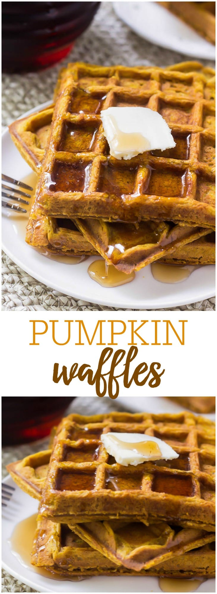 These soft & fluffy Pumpkin Waffles are filled with pumpkin pie spices and delicious pumpkin. So easy to make, and perfect for fall!