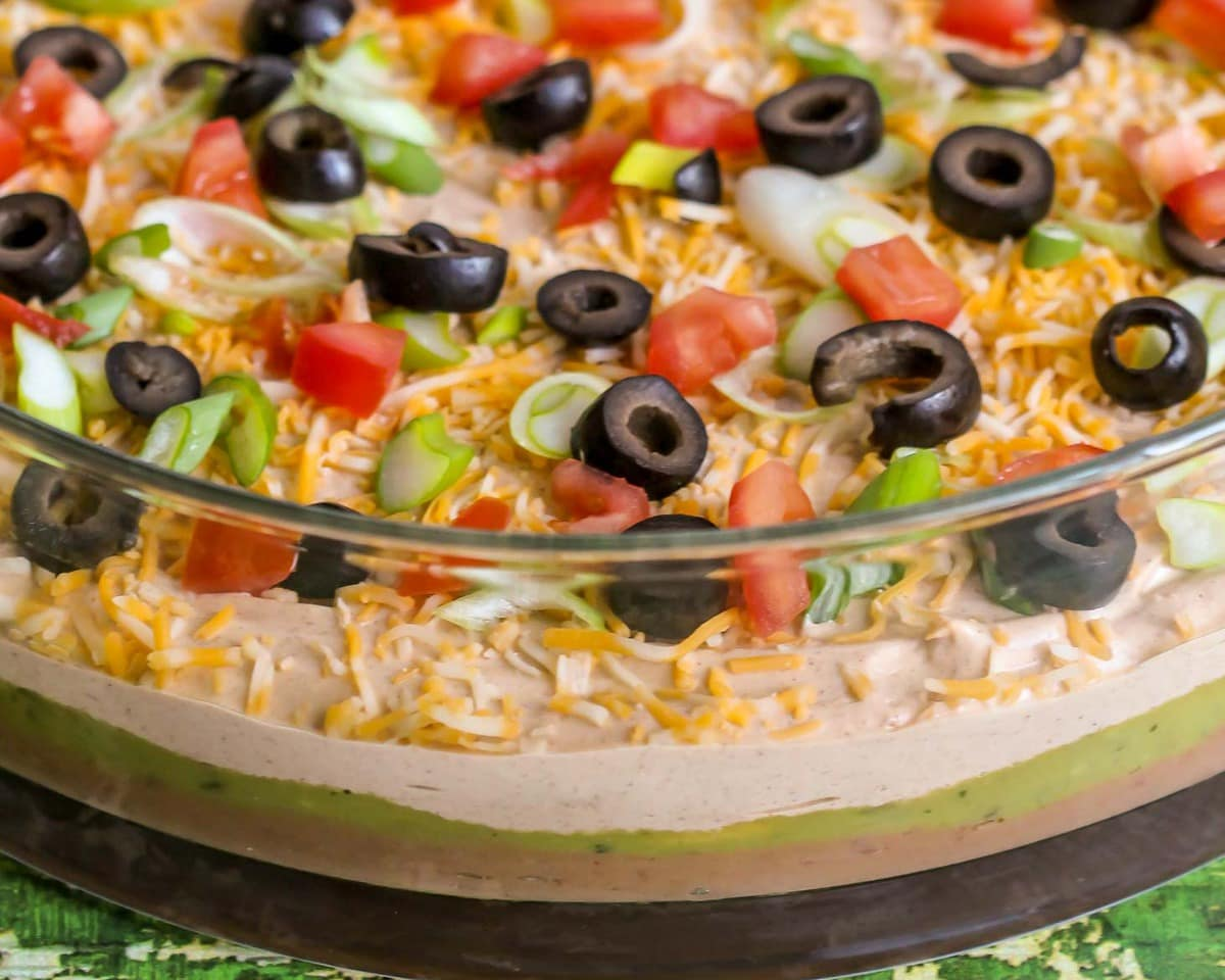 7 Layer Bean Dip in a glass dish