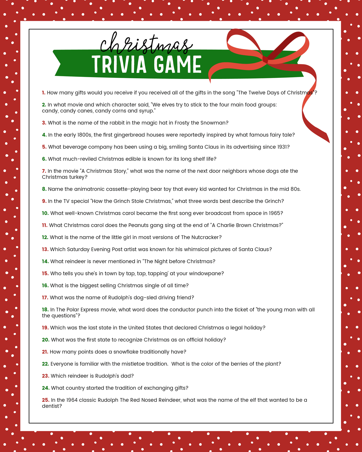 picture relating to 4th of July Trivia Printable known as Cost-free Xmas Trivia Match Lil Luna