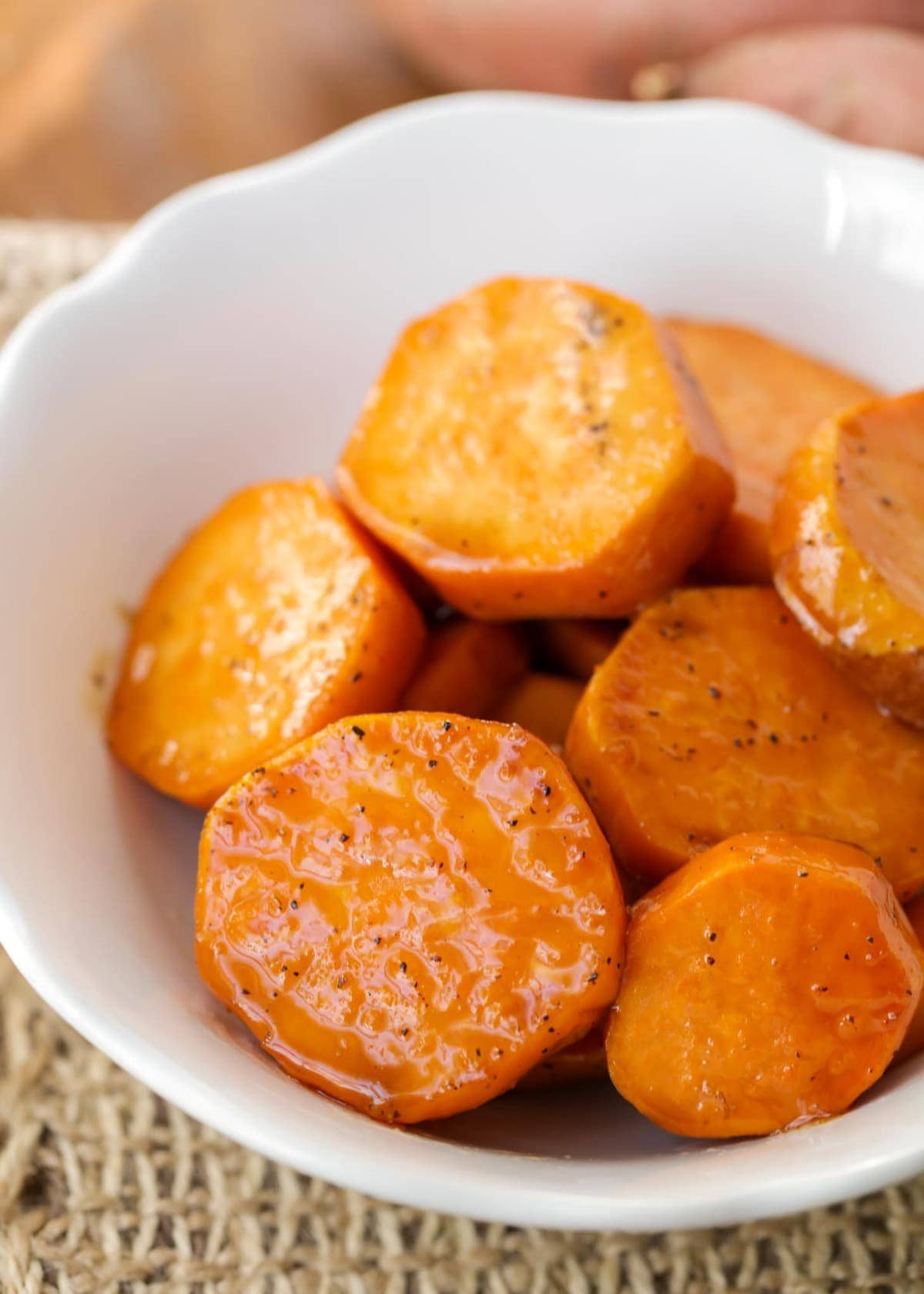 Candied Sweet Potatoes Recipe in white bowl