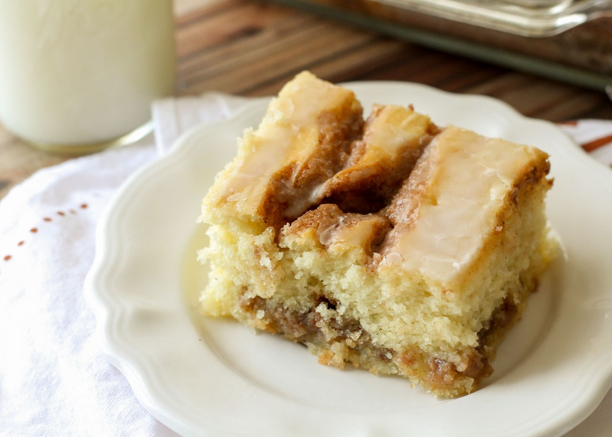 Cinnamon Roll Cake Recipe on plate