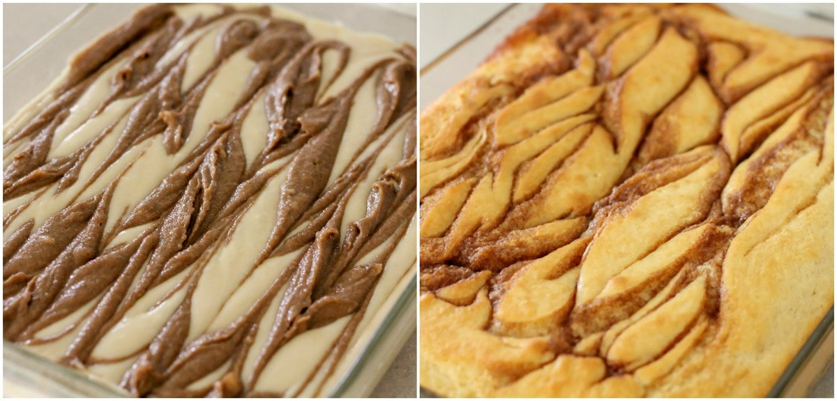 How to Make Cinnamon Roll Cake process pics