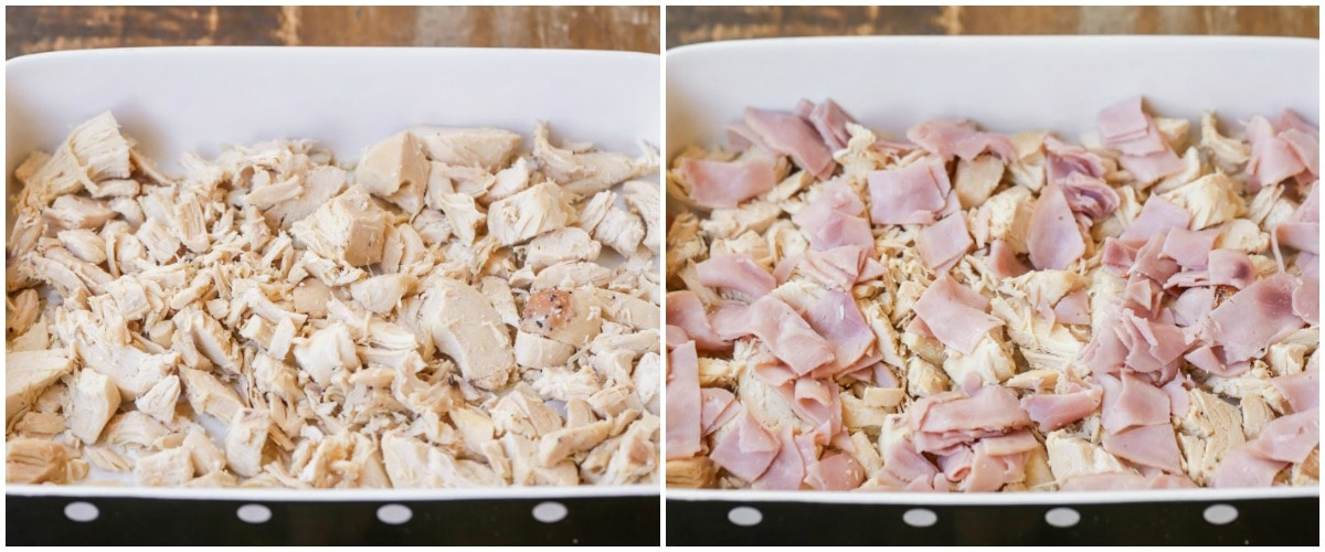 Layers of chicken and ham for chicken cordon bleu bake