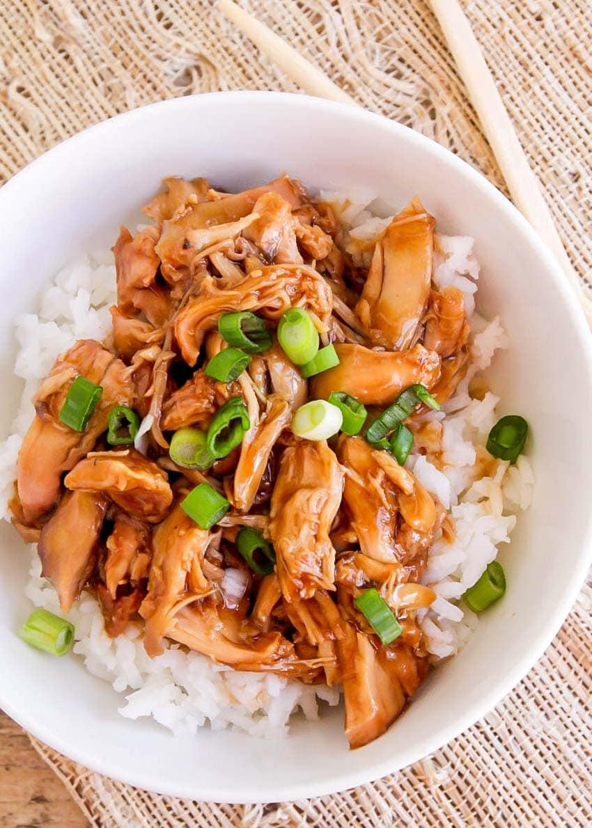 Slow Cooker teriyaki chicken in white bowl