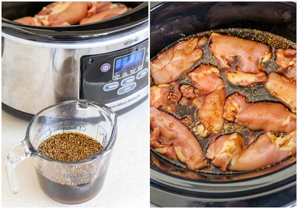 Teriyaki sauce and chicken made in crock pot