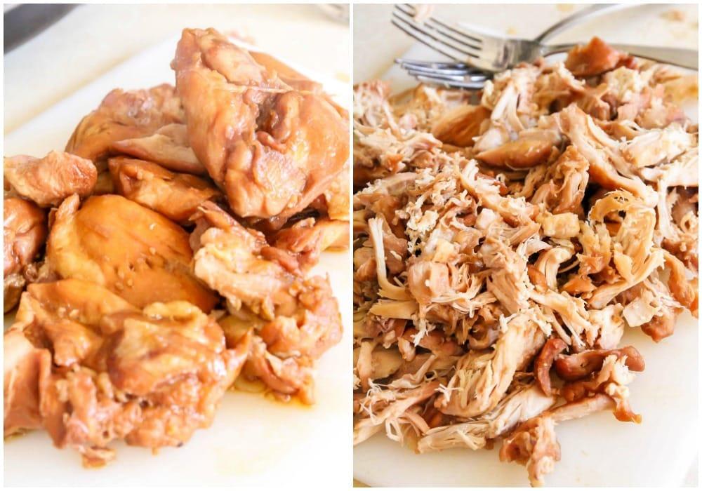 Shredded teriyaki chicken made in slow cooker