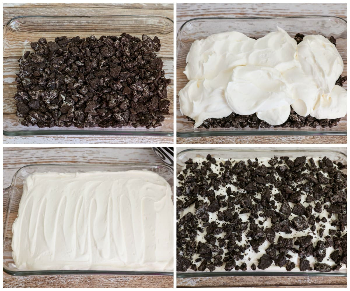 Process Shots of layering the Dirt Cake Recipe
