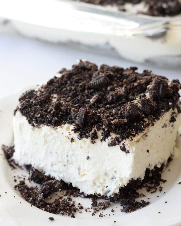 Oreo Dirt Cake on plate