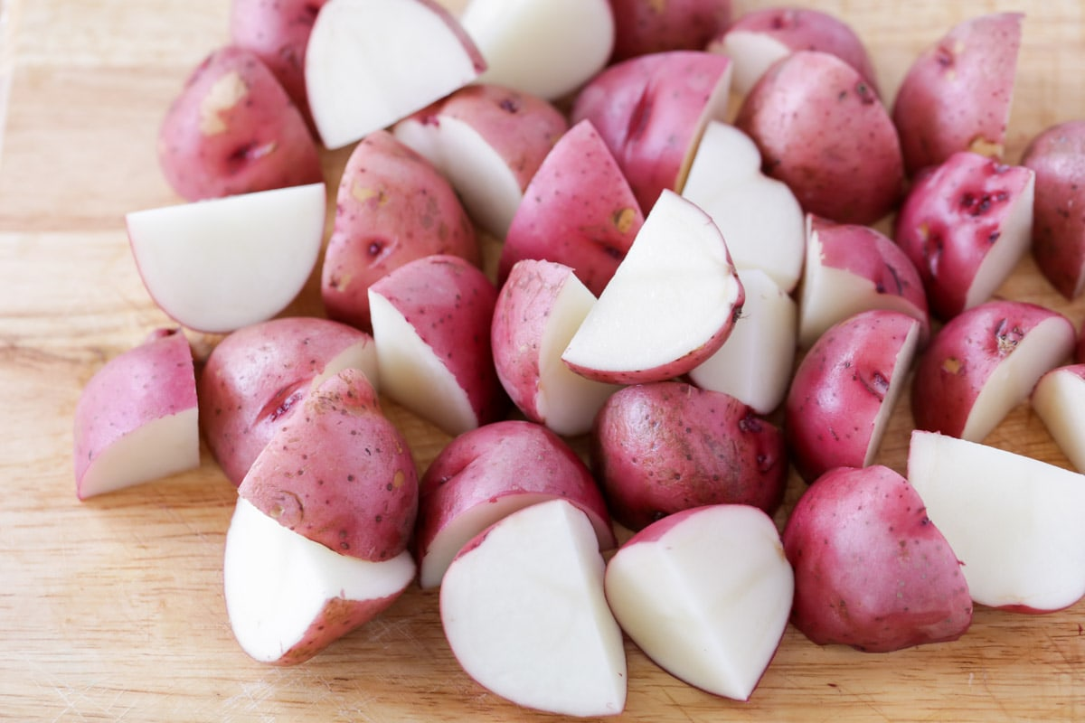 Diced potatoes for garlic mashed red potatoes